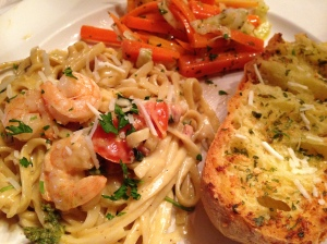 GF Linguini Alfredo with Shrimp Scampi, served with carrots sauteed with leeks and garlic bread (yes, it's gf too).