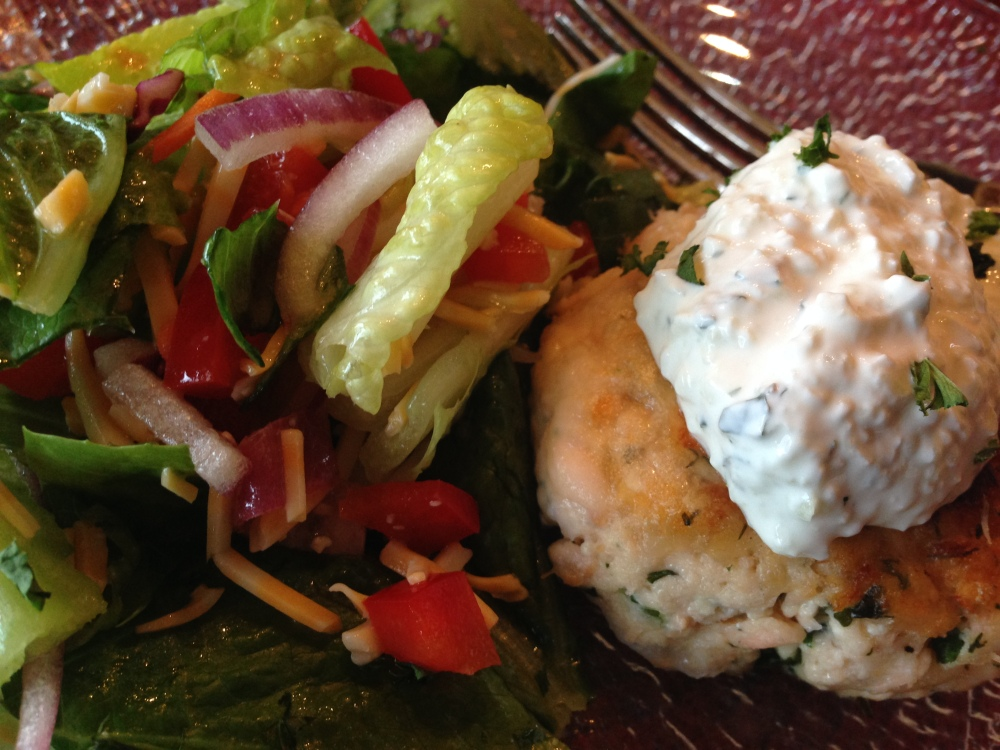 Salmon & Dill Cakes with Cucumber Sauce