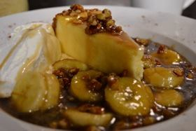 Bananas Foster over Cheesecake (gf)