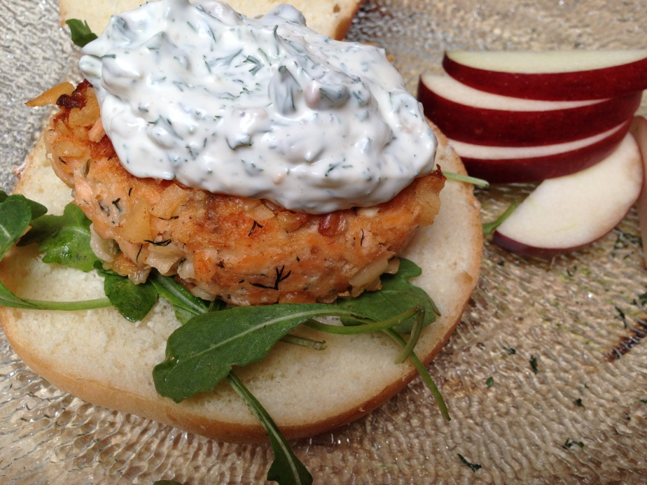 Salmon & Dill Cakes with Cucumber MintSauce