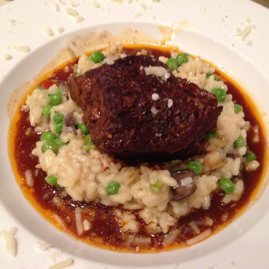 Fennel Braised Short Ribs over Mushroom and Pea Risotto