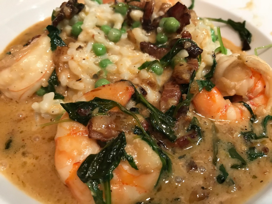 Shrimp Alla Fede with PeaRisotto